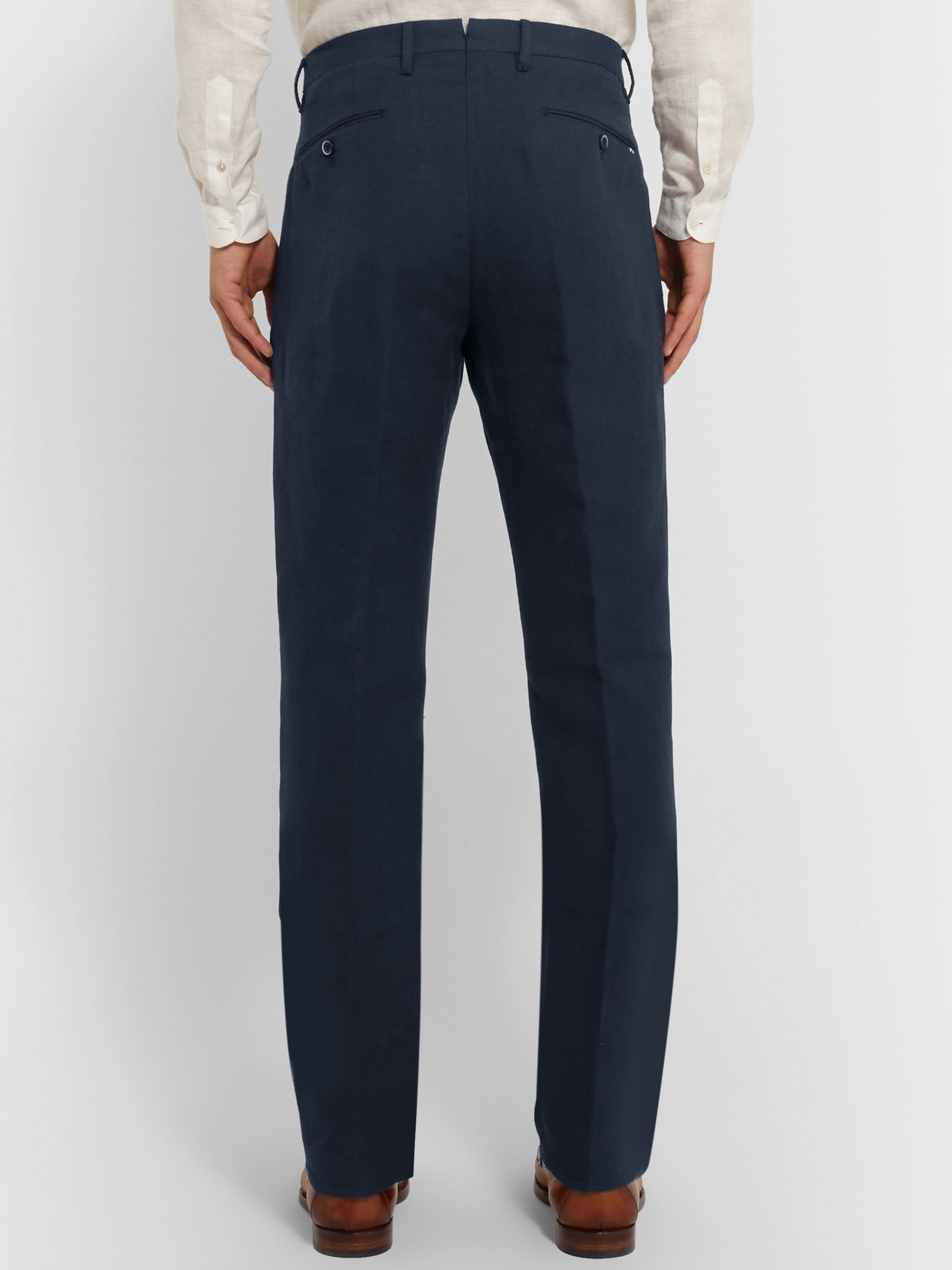 Zanella Navy Newton Slim-Fit Pleated Herringbone Cotton and Linen-Blend Trousers