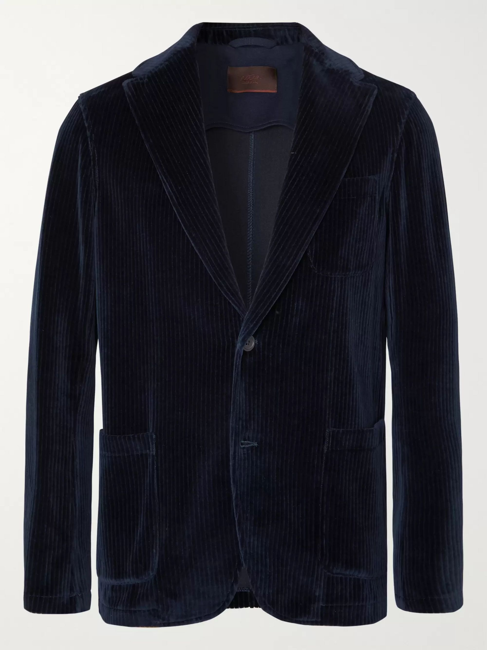 Altea Navy Unstructured Cotton-Corduroy Blazer