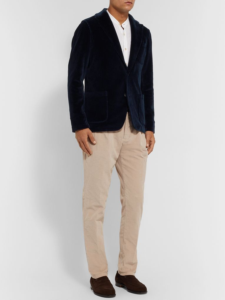 Altea Tan Unstructured Cotton-Corduroy Blazer