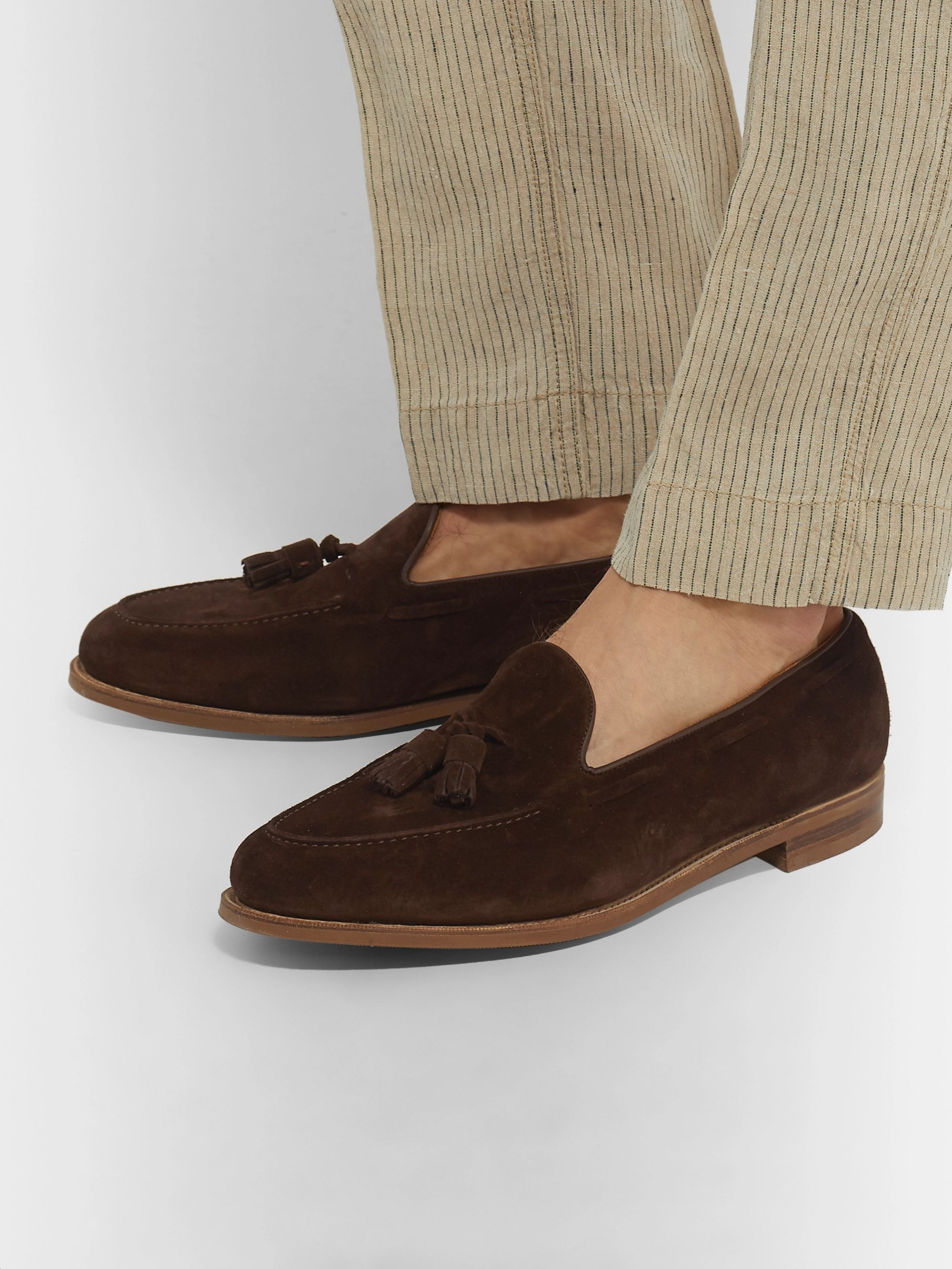Edward Green Hampstead Leather-Trimmed Suede Tasselled Loafers