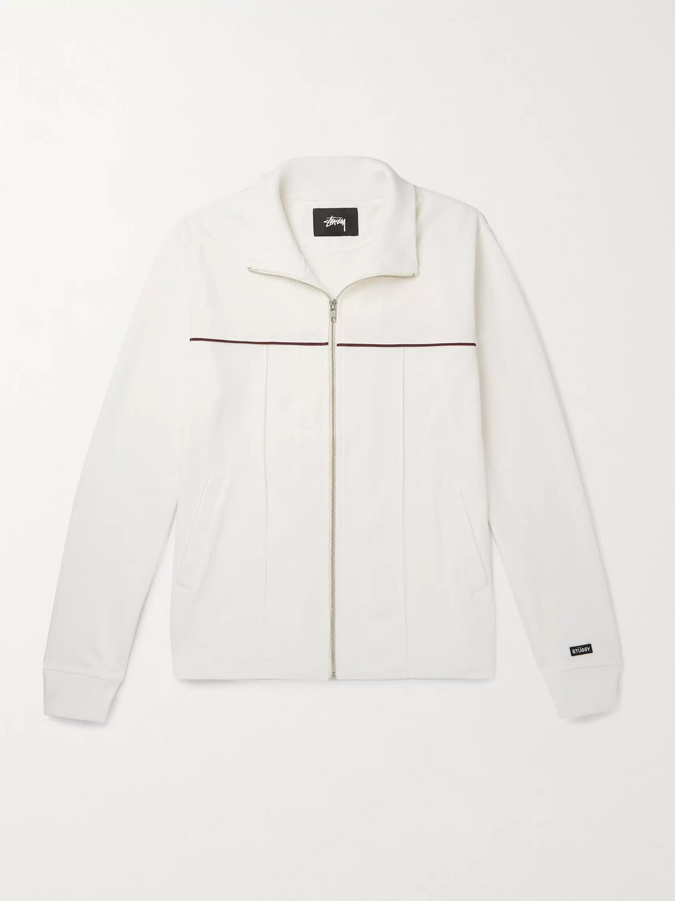 Stüssy Piped Cotton-Blend Piqué Zip-Up Sweatshirt