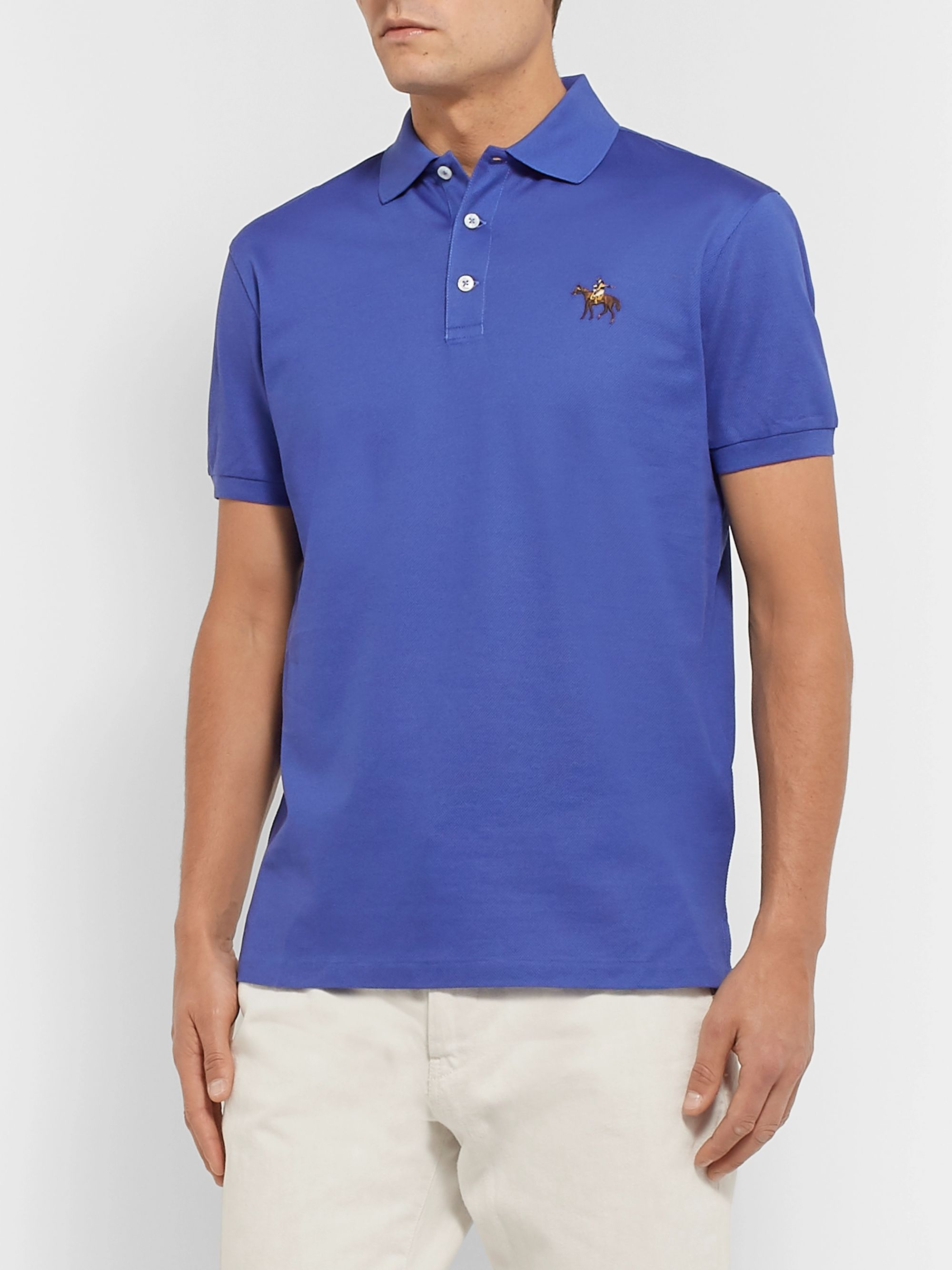 Ralph Lauren Purple Label Slim-Fit Embroidered Mercerised Cotton-Piqué Polo Shirt