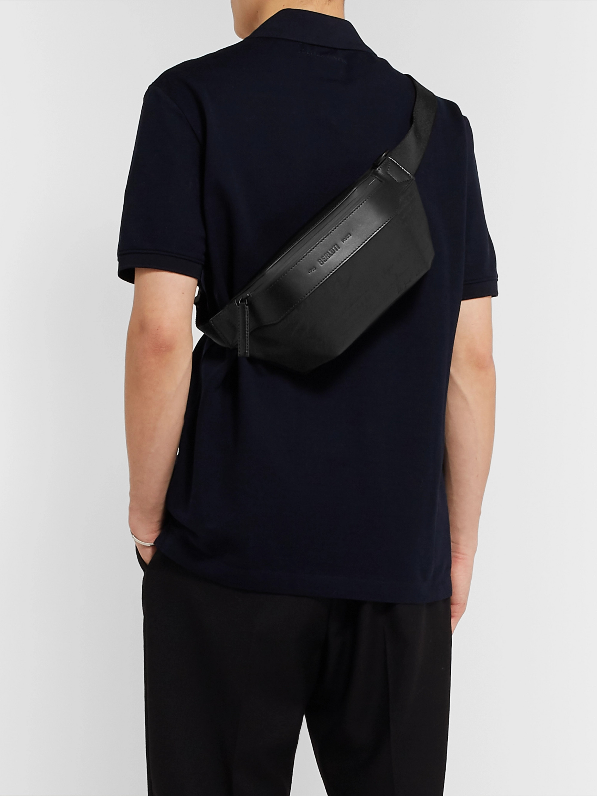 Berluti Scritto Leather-Trimmed Nylon Belt Bag