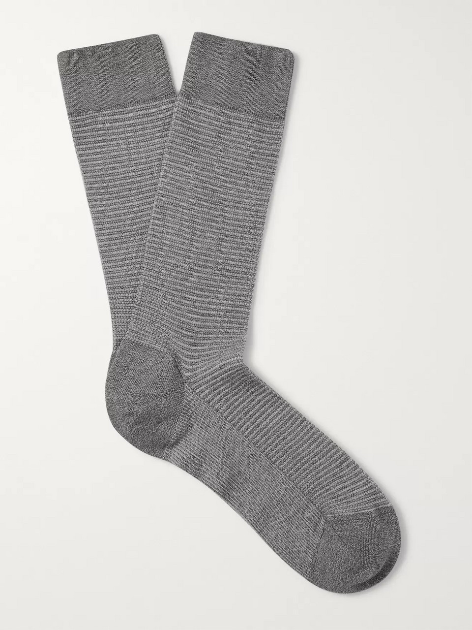 Ermenegildo Zegna Textured Mélange Stretch Cotton-Blend Socks