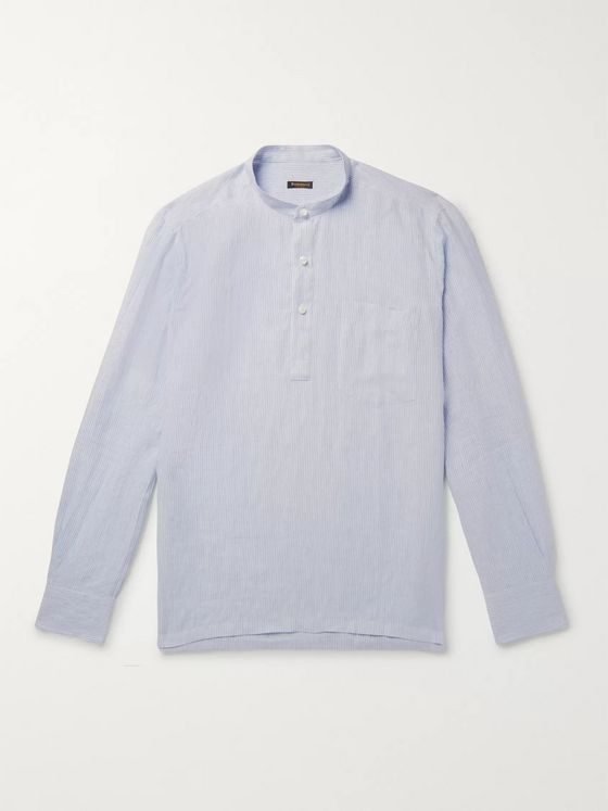Rubinacci Grandad-Collar Striped Linen Shirt