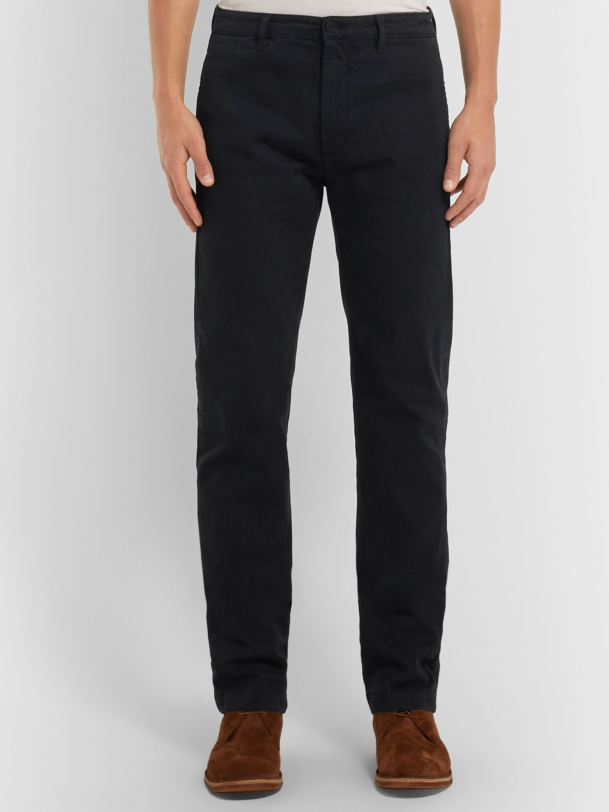 Massimo Alba Navy Winch 2 Slim-Fit Cotton-Blend Trousers