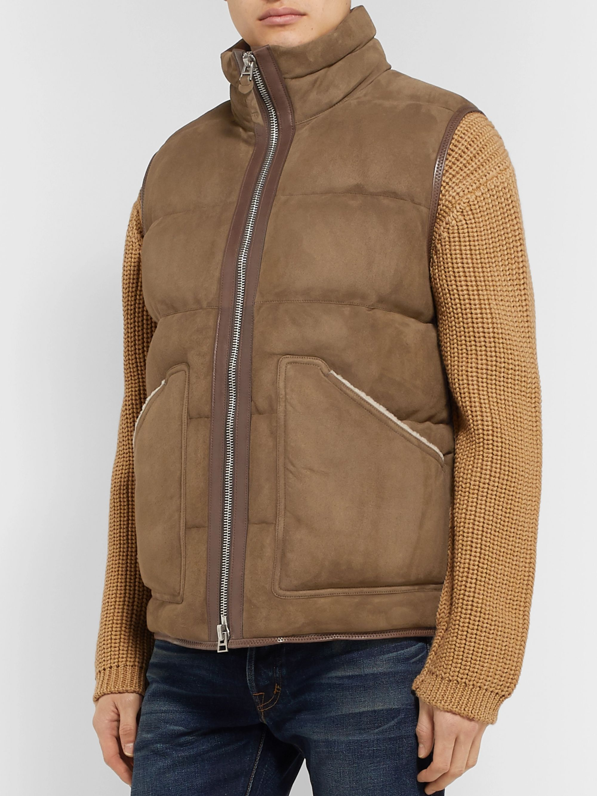 TOM FORD Shearling and Leather-Trimmed Quilted Suede Gilet