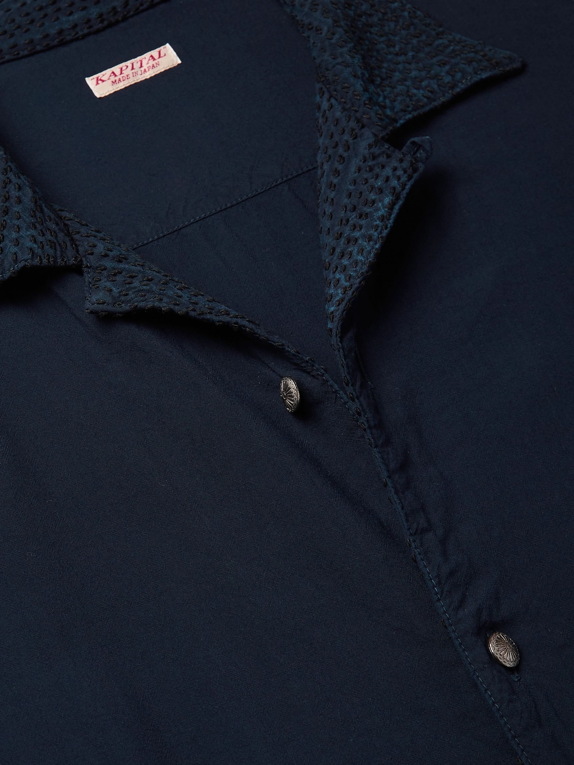 Camp Collar Embroidered Voile Shirt by Kapital