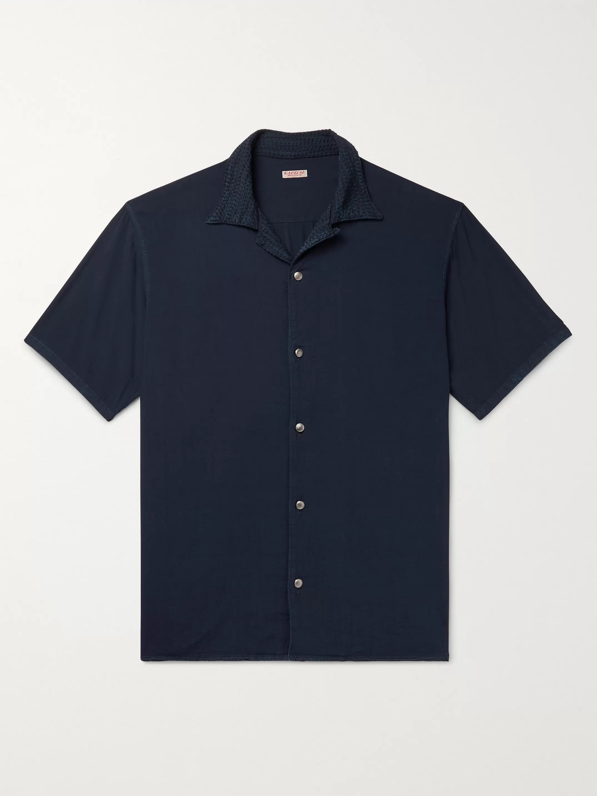 KAPITAL Camp-Collar Embroidered Voile Shirt