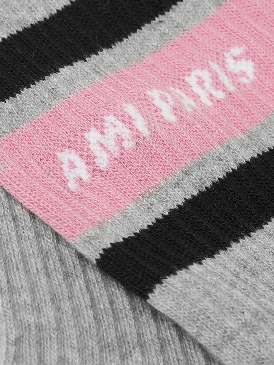 AMI Logo-Intarsia Striped Stretch Cotton-Blend Socks