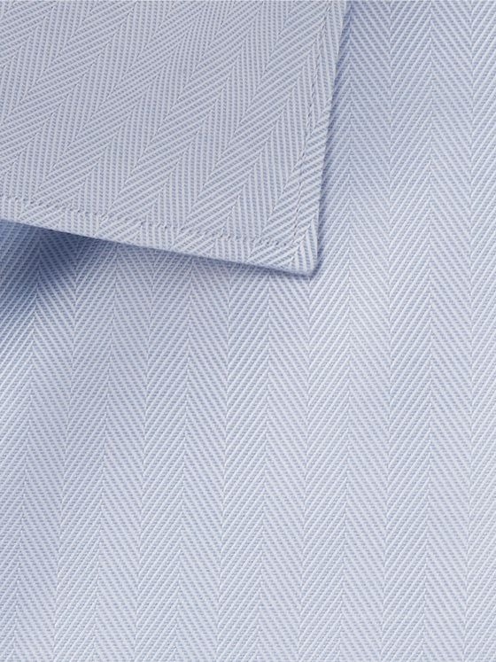 Brioni Light-Blue Slim-Fit Cutaway-Collar Herringbone Cotton Shirt