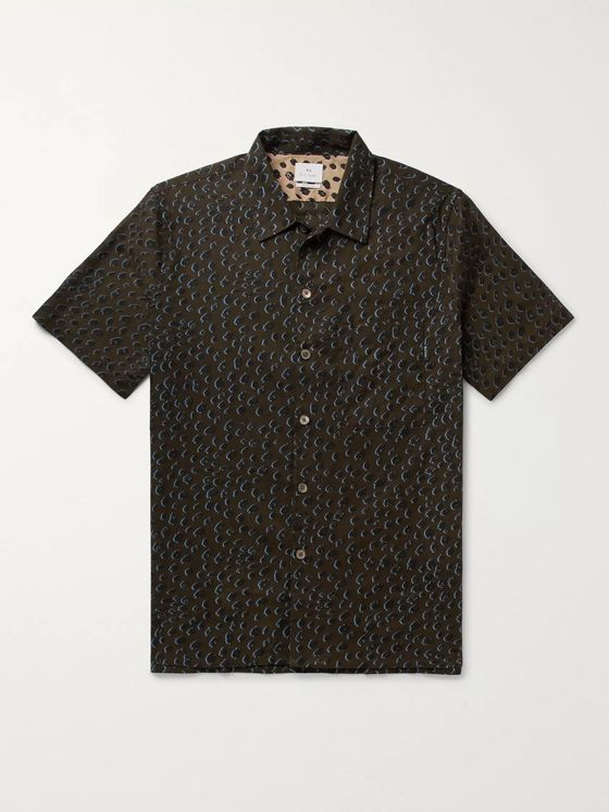 PS Paul Smith Leopard-Print Slub Cotton Shirt