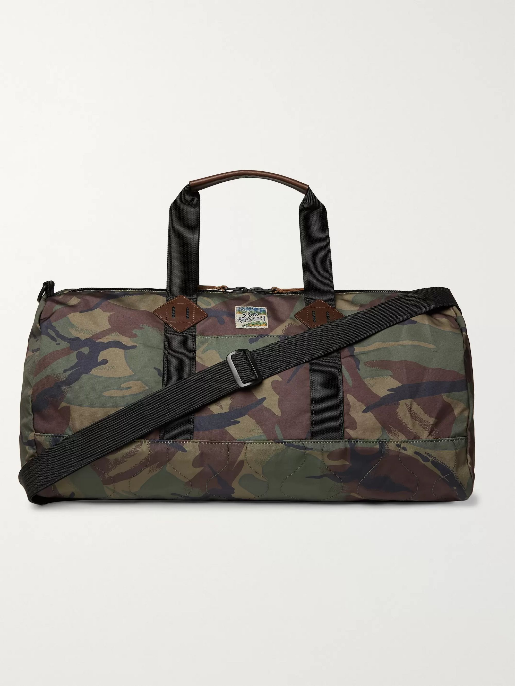 Polo Ralph Lauren Leather-Trimmed Camouflage-Print Shell Holdall