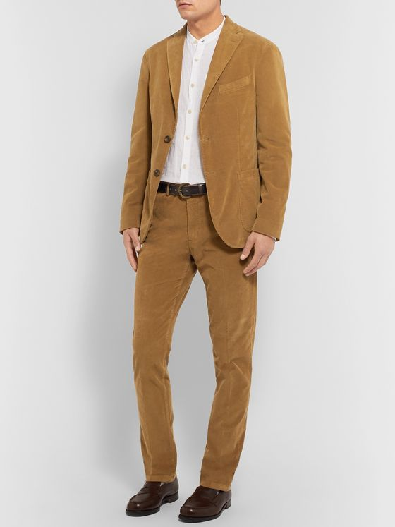Boglioli Tan K-Jacket Slim-Fit Unstructured Stretch-Cotton Corduroy Suit Jacket