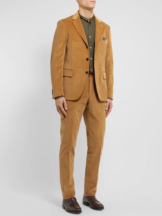 MP Massimo Piombo Tan Slim-Fit Cotton-Corduroy Suit Trousers