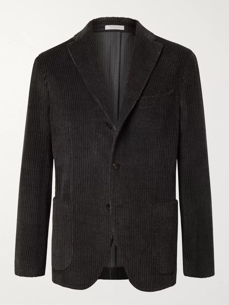 Boglioli Navy K-Jacket Unstructured Cotton and Wool-Blend Corduroy Blazer