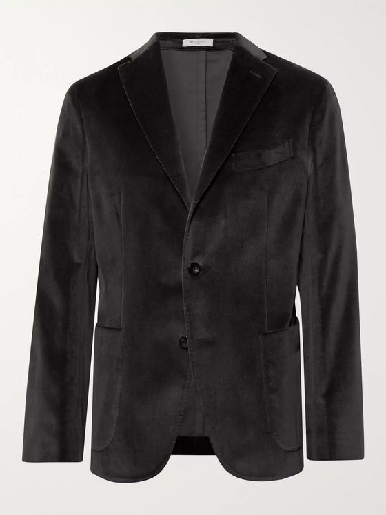 Boglioli Charcoal K-Jacket Slim-Fit Unstructured Stretch-Cotton Velvet Blazer