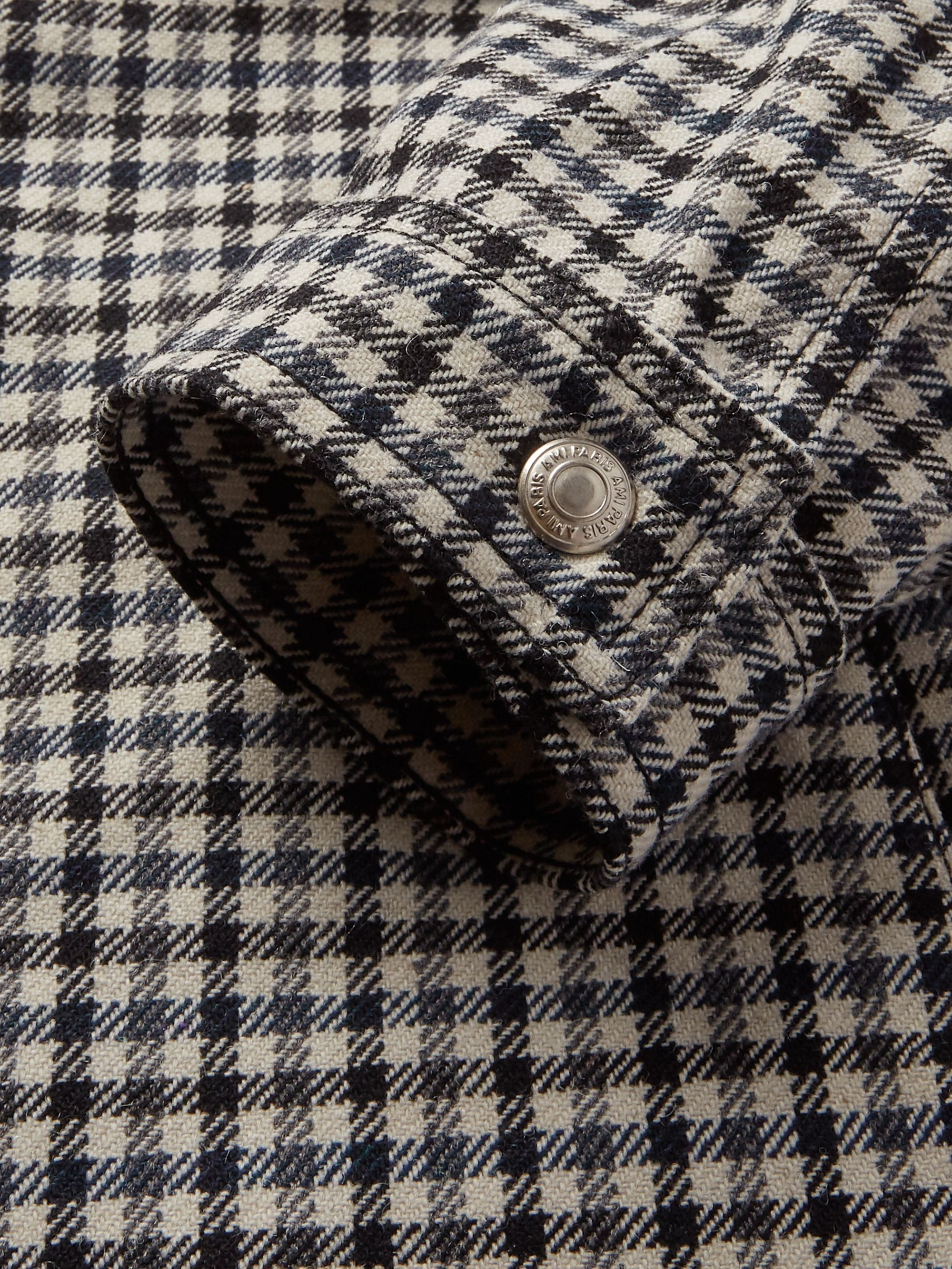 AMI Houndstooth Wool-Blend Trucker Jacket
