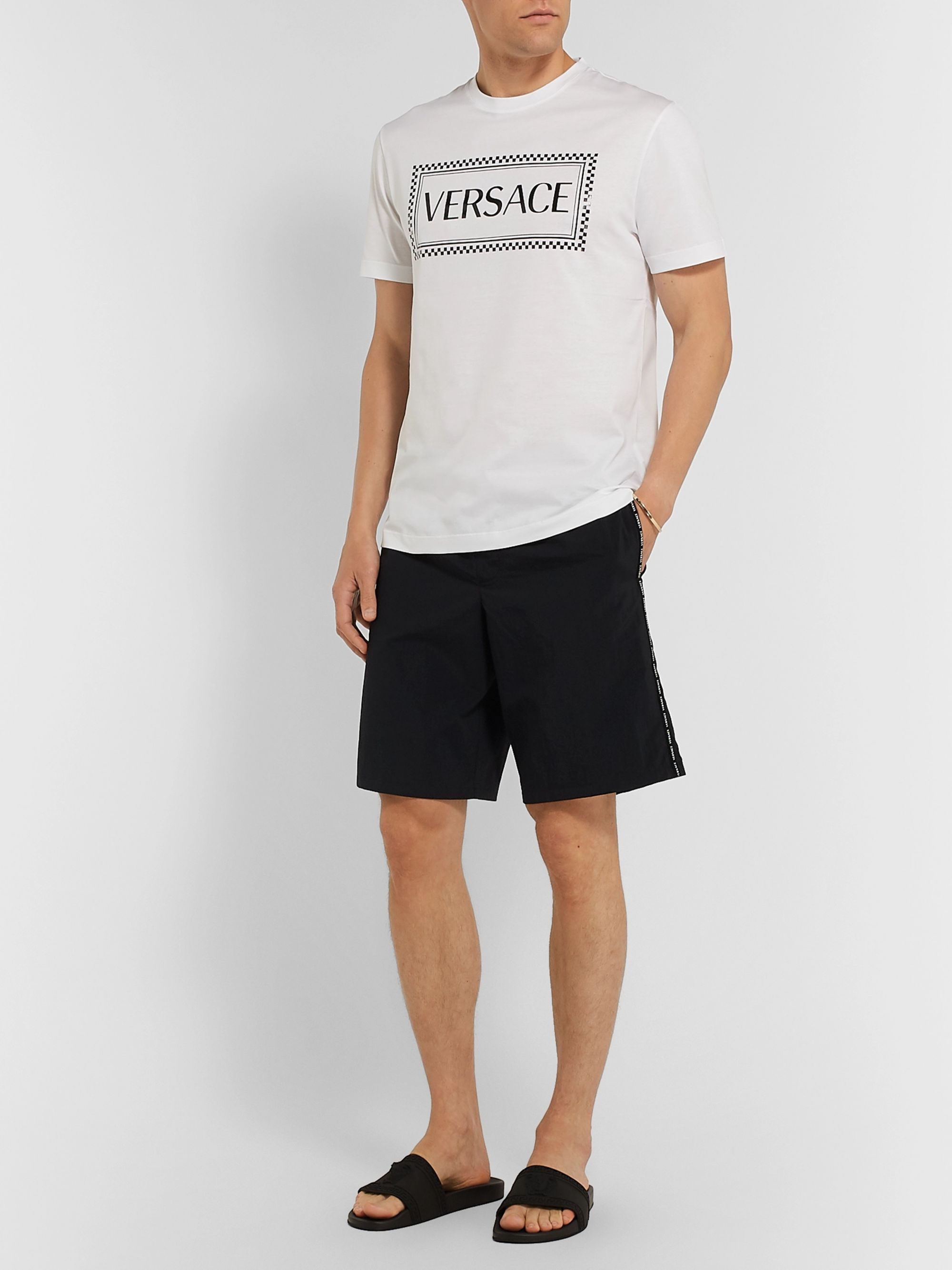Versace Long-Length Logo-Print Swim Shorts