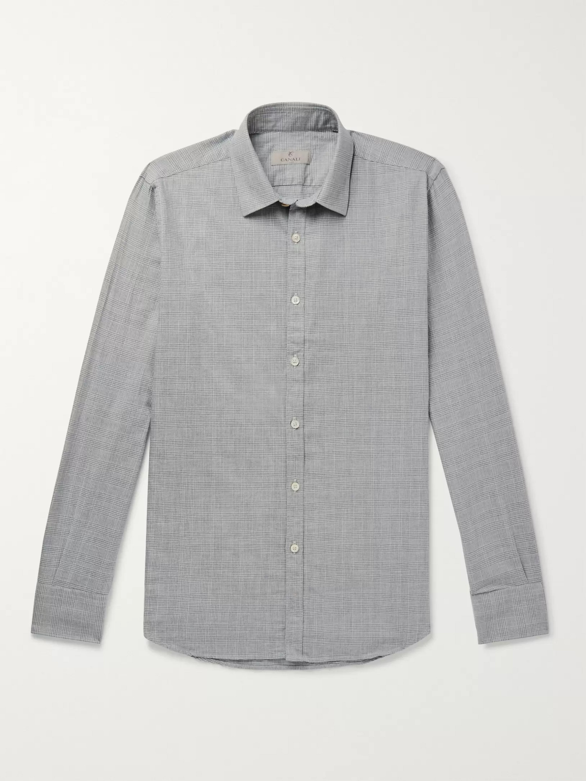 Canali Slim-Fit Houndstooth Cotton Shirt