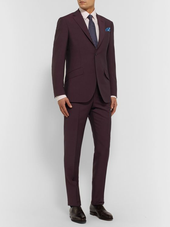Richard James Burgundy Slim-Fit Wool and Mohair-Blend Suit Trousers