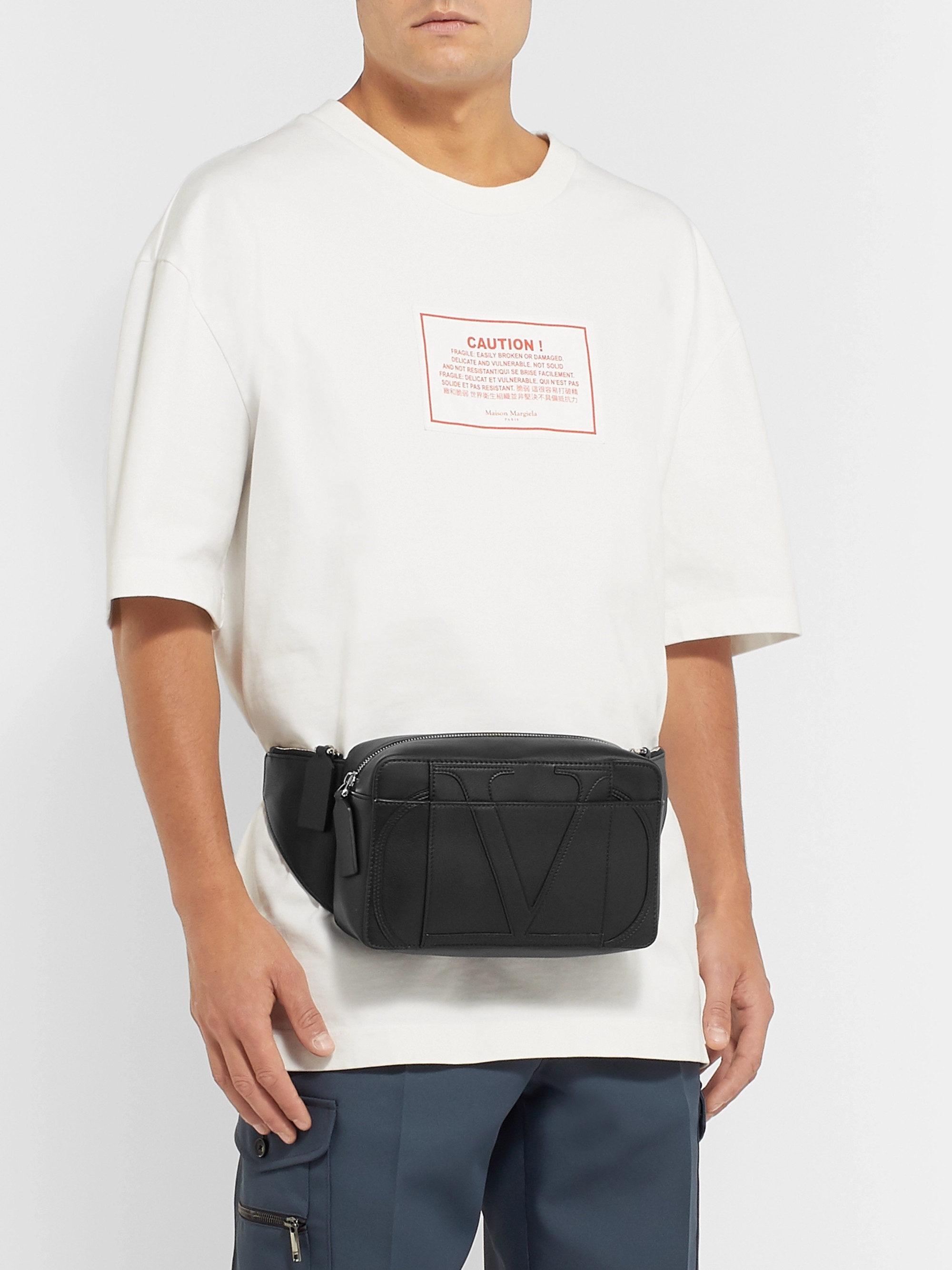 Valentino Logo-Appliquéd Leather Belt Bag