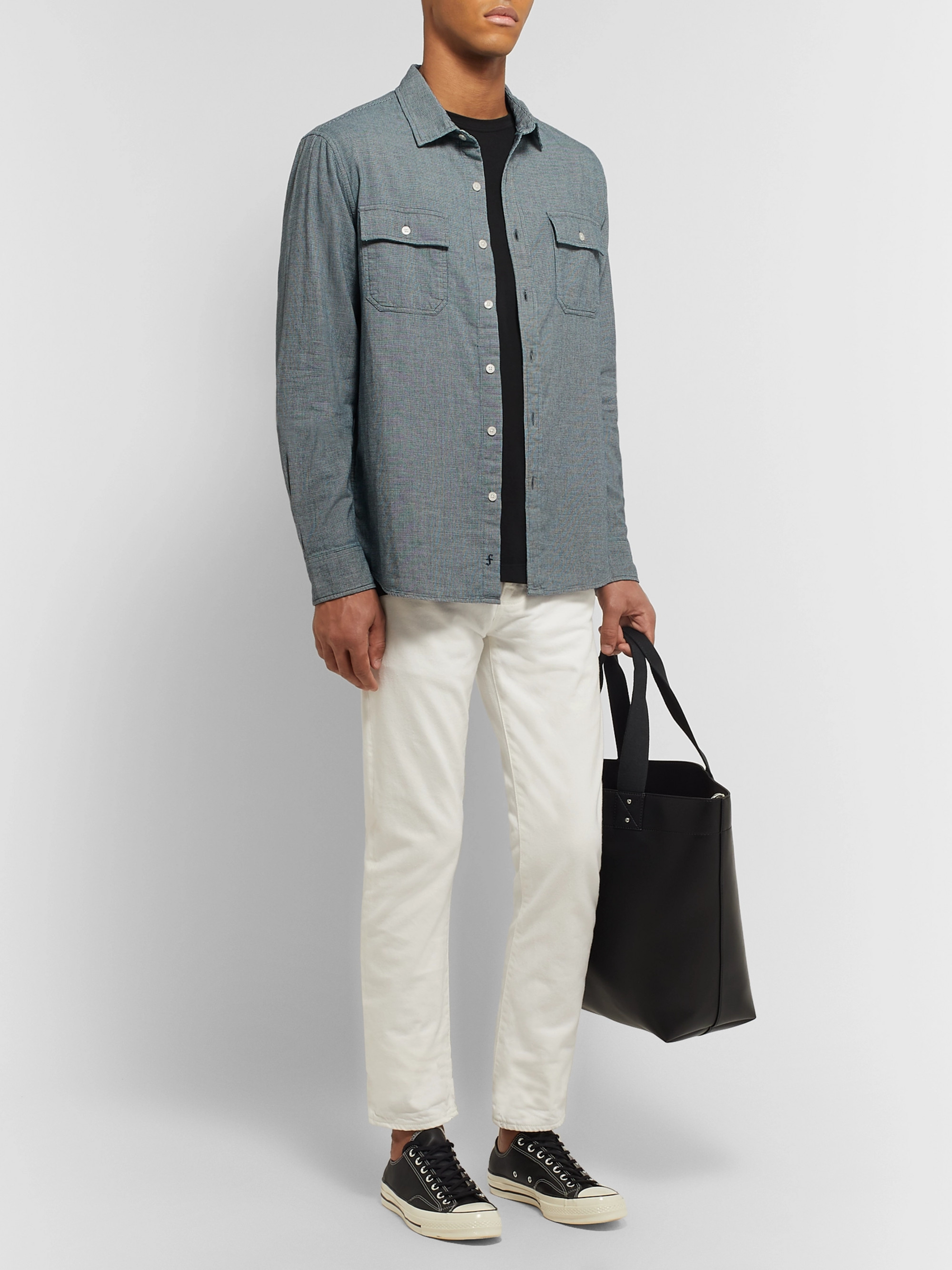 FRAME Indigo-Dyed Puppytooth Cotton Shirt