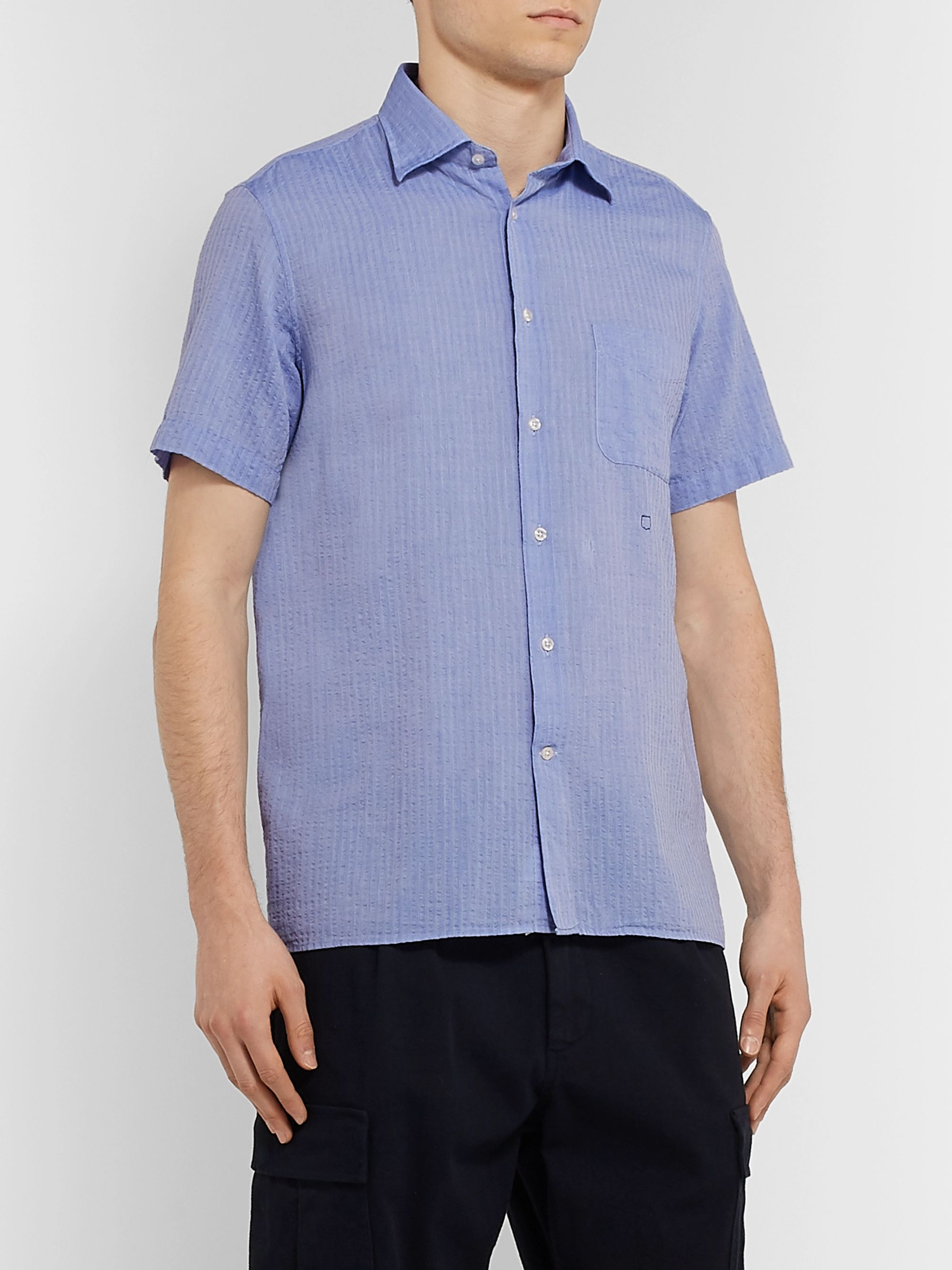 Massimo Alba Striped Cotton-Seersucker Shirt