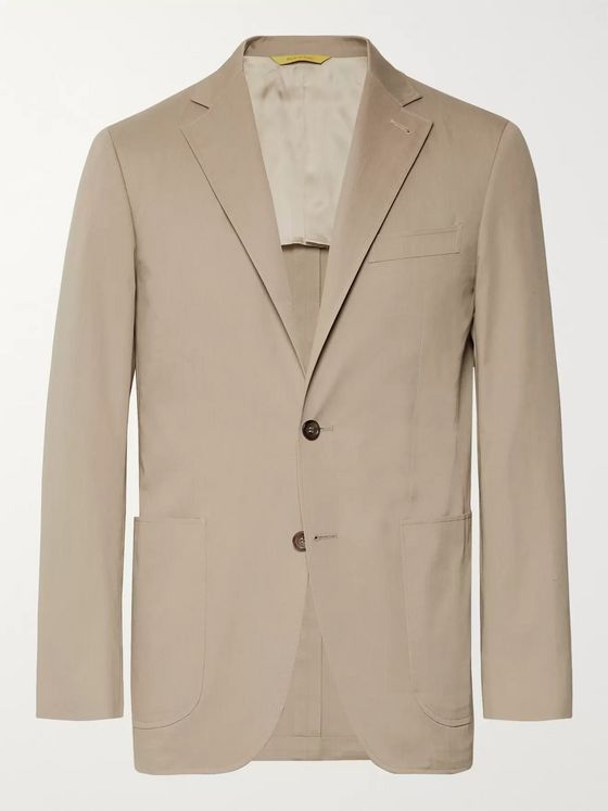 Canali Stone Kei Slim-Fit Stretch-Cotton Twill Suit Jacket