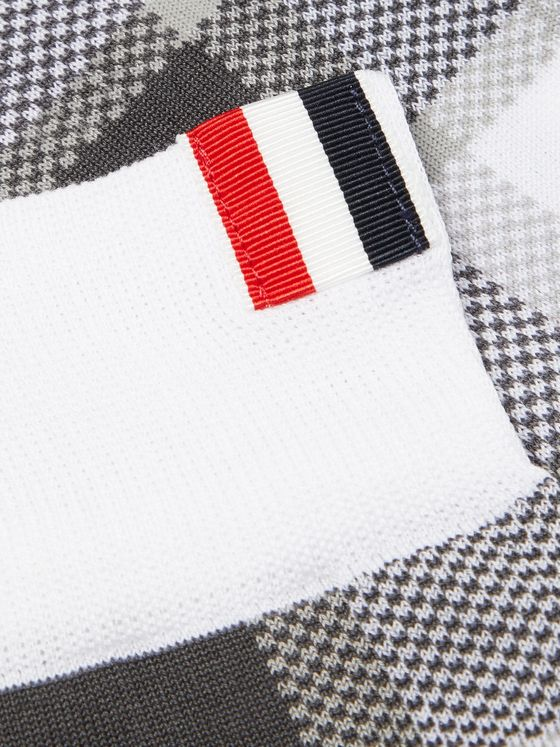 Thom Browne Webbing-Trimmed Checked Cotton-Blend Socks