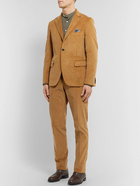 MP Massimo Piombo Tan Andy Slim-Fit Cotton-Corduroy Suit Jacket