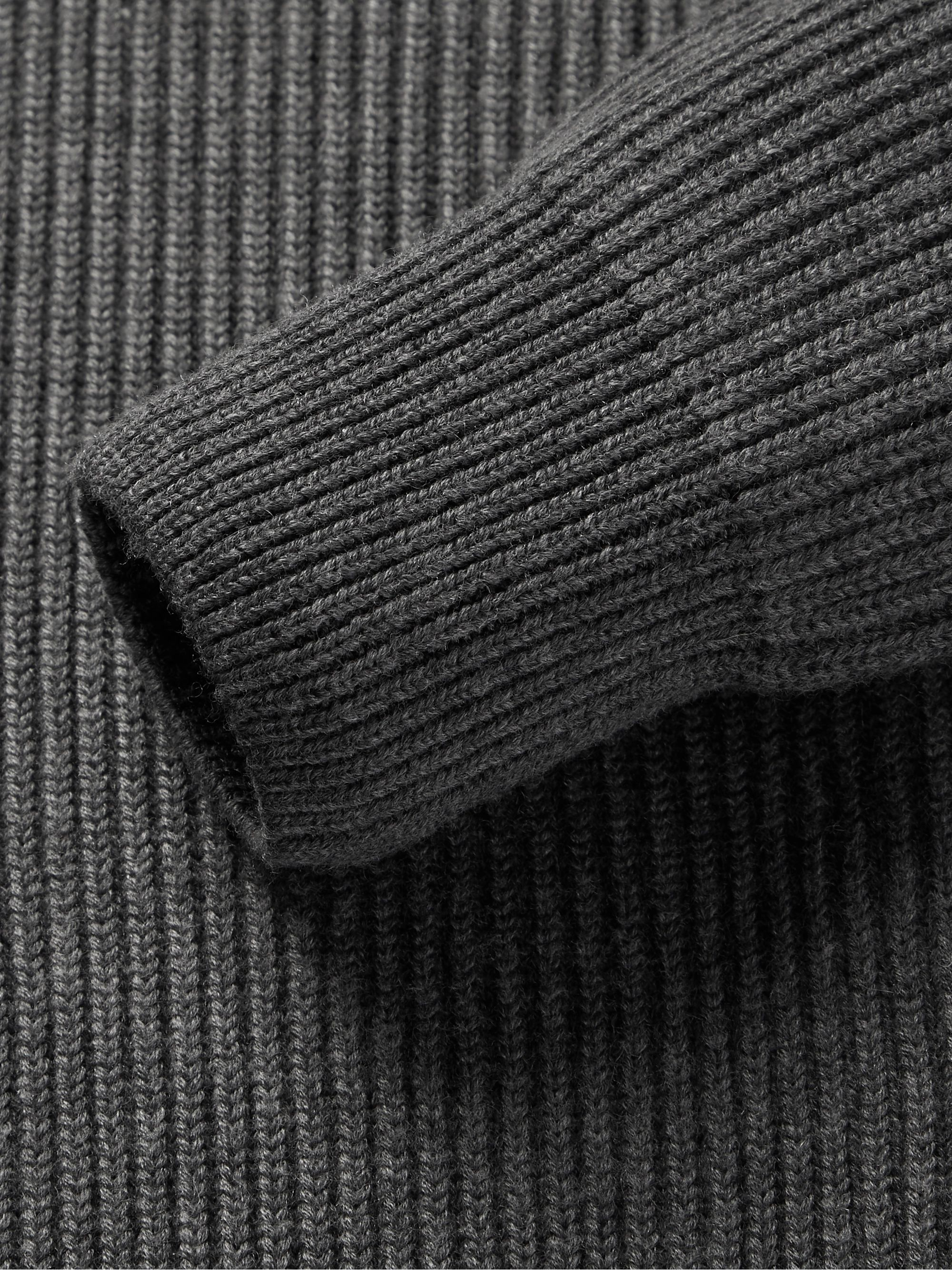 Berluti Ribbed Wool and Cashmere-Blend Half-Zip Sweater