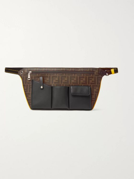 Fendi Logo-Jacquard Canvas and Leather Belt Bag