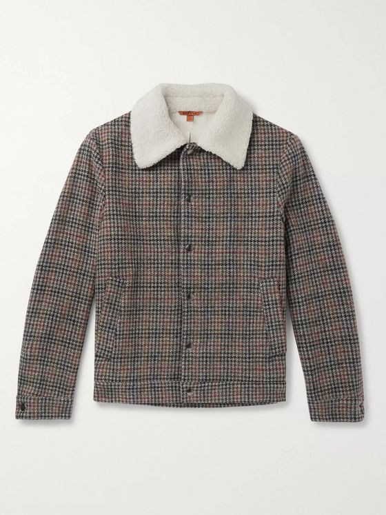 Barena Shearling-Trimmed Houndstooth Wool Jacket