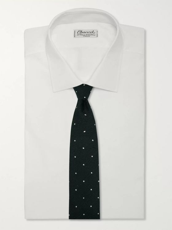 Drake's 8cm Embroidered Polka-Dot Slub Silk Tie
