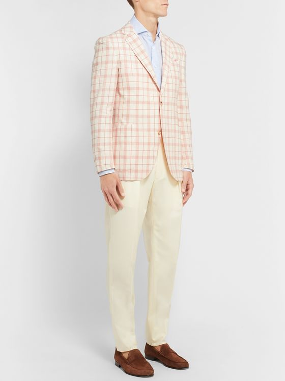 Richard James Ivory Checked Linen, Wool and Silk-Blend Blazer