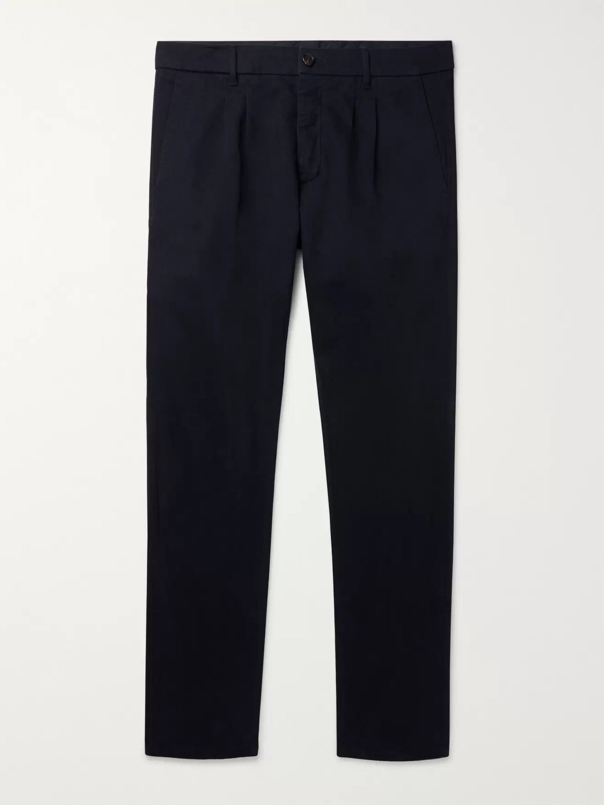 Altea Navy Slim-Fit Pleated Cotton-Blend Gabardine Trousers
