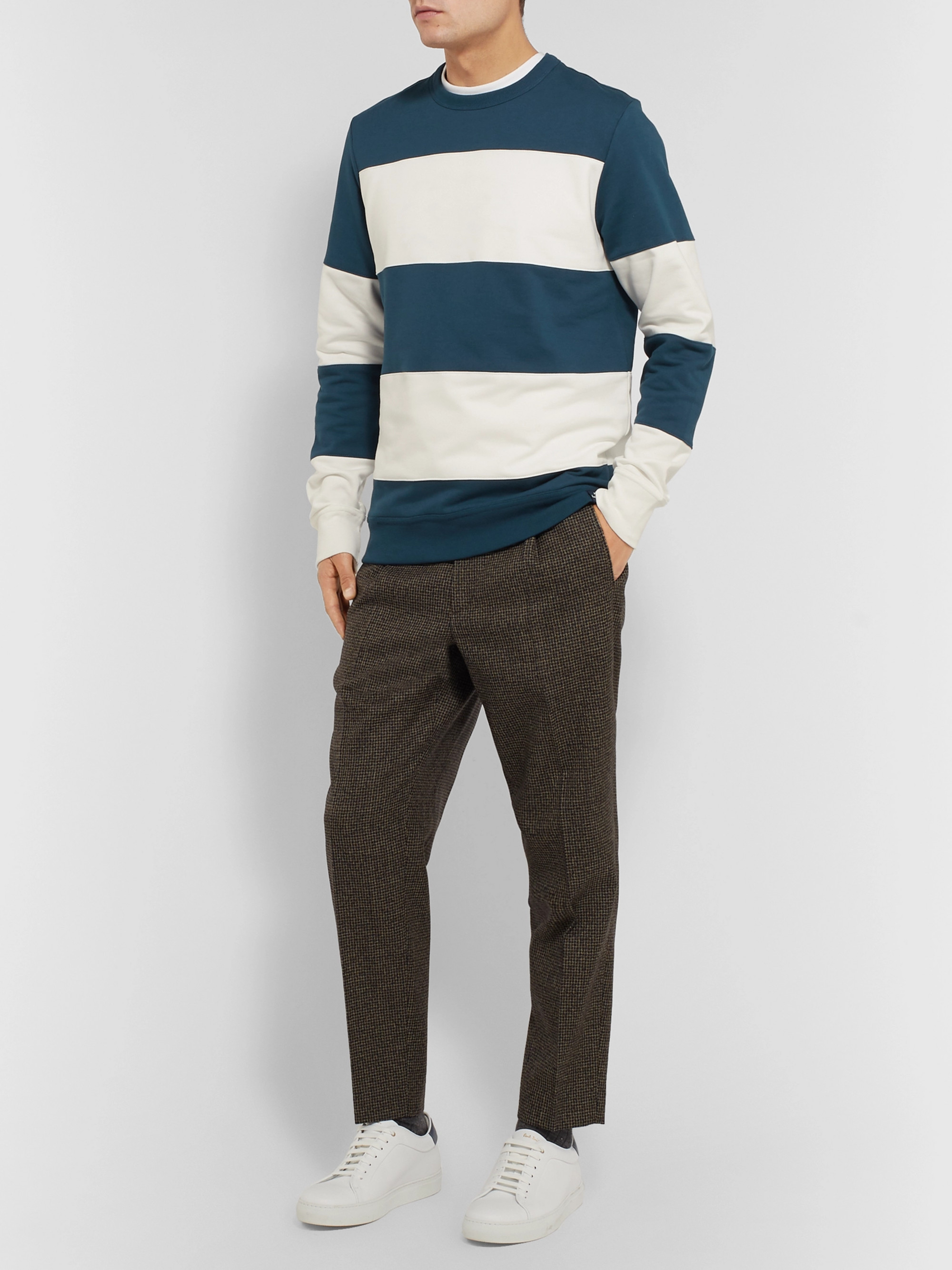 PS Paul Smith Striped Fleece-Back Cotton-Jersey Sweatwshirt