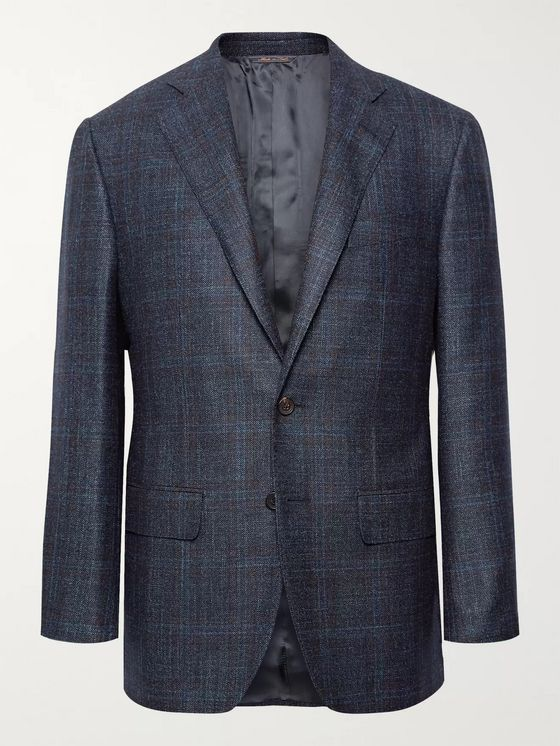 Thom Sweeney Storm-Blue Slim-Fit Checked Wool, Silk and Cashmere-Blend Blazer