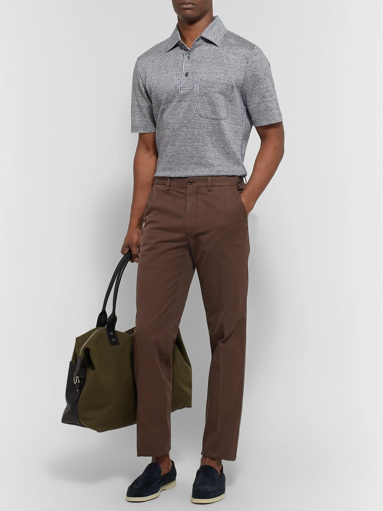 Rubinacci Slim-Fit Cotton-Twill Trousers