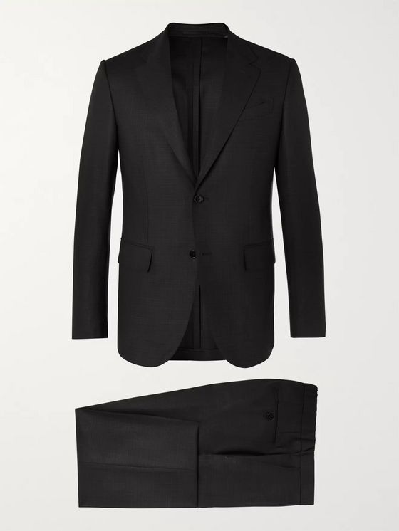 Ermenegildo Zegna Dark-Grey Packaway Slim-Fit Checked Wool Suit