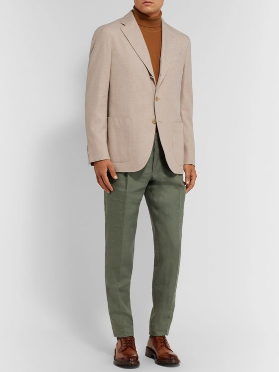 Caruso Sand Butterfly Cotton Blazer