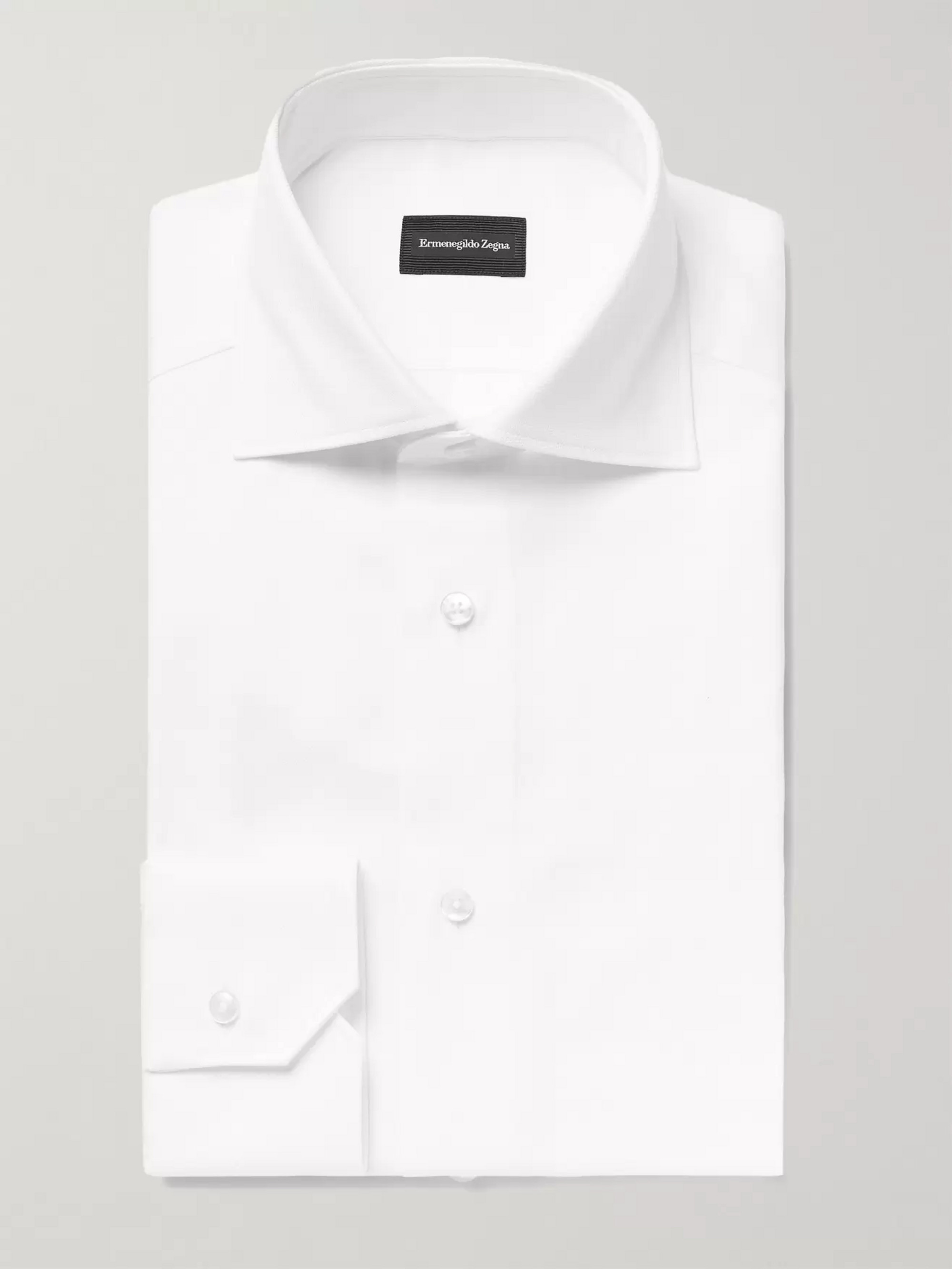 Ermenegildo Zegna White Slim-Fit Cutaway-Collar Cotton Oxford Shirt