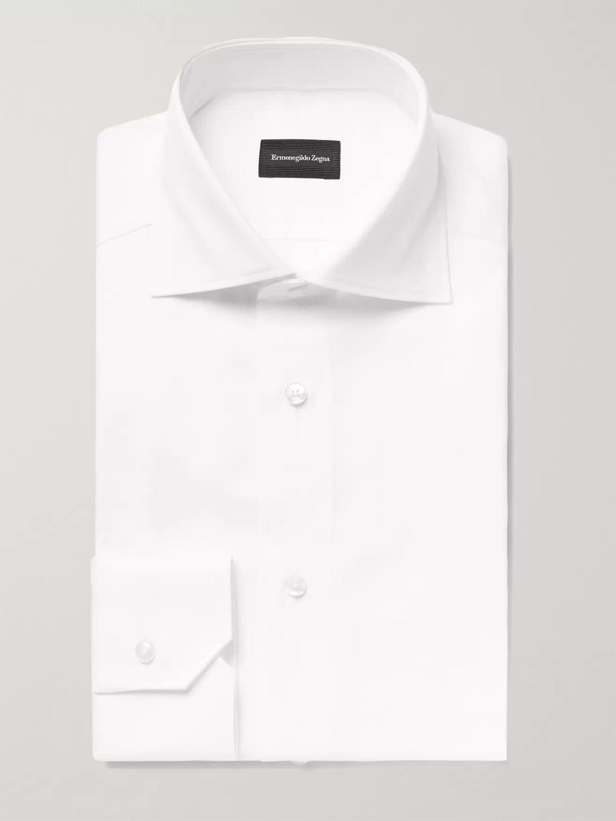 4352474260 White Slim-Fit Cutaway-Collar Cotton Oxford Shirt
