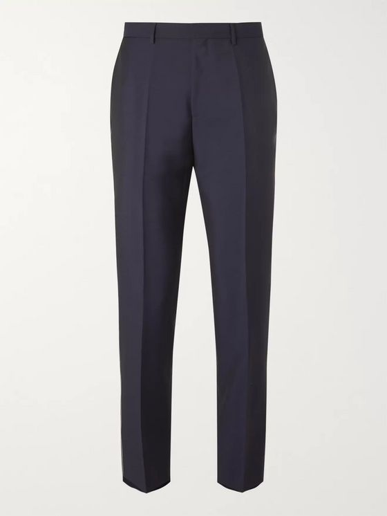 Hugo Boss Navy Slim-Fit Virgin Wool and Mohair-Blend Trousers