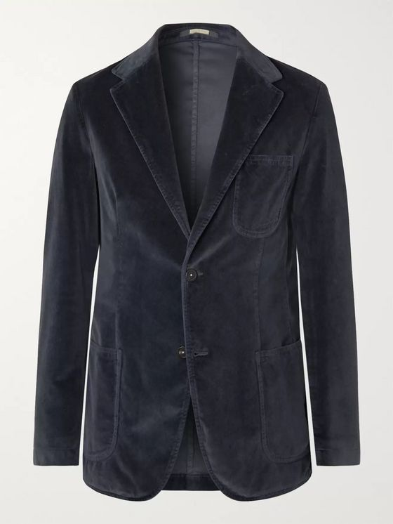 Massimo Alba Navy Slim-Fit Unstructured Cotton-Velvet Blazer