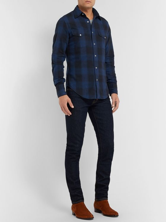 TOM FORD Slim-Fit Checked Brushed-Cotton Western Shirt
