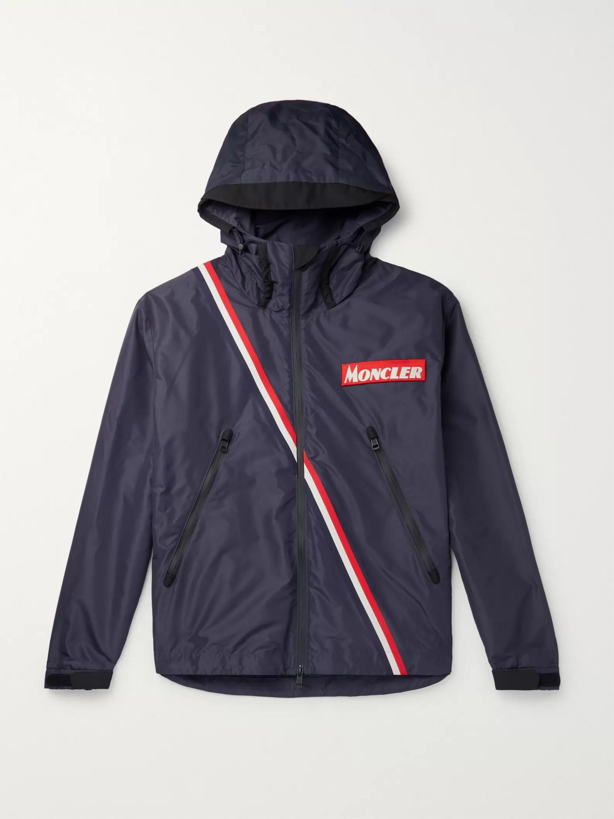 Trakehner Striped Nylon Hooded Jacket by Moncler