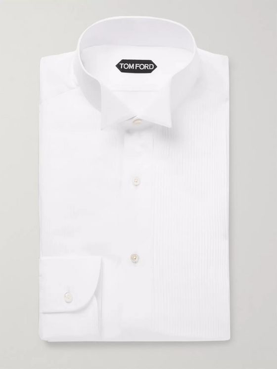 TOM FORD White Slim-Fit Wing-Collar Pleated Bib-Front Cotton Tuxedo Shirt