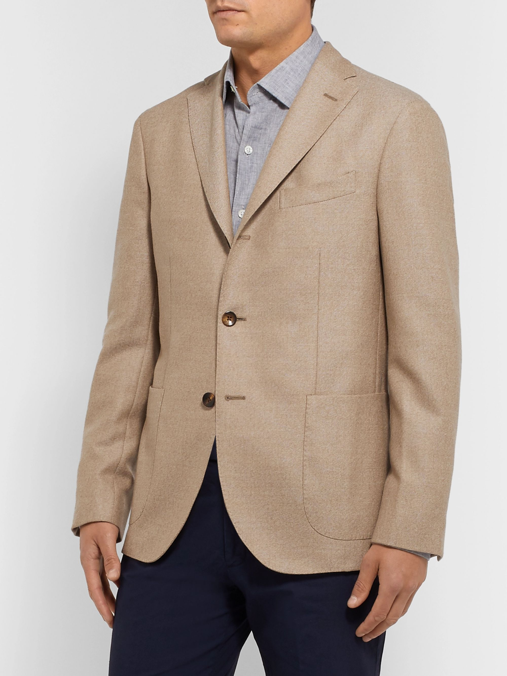 Boglioli Beige K-Jacket Slim-Fit Unstructured Virgin Wool-Hopsack Blazer